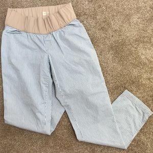 Seersucker maternity ankle khakis